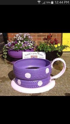 Donna's discussion on Hometalk. Teacup planters made from old tires - Planters made out of tires, what paint should I use for the tires?