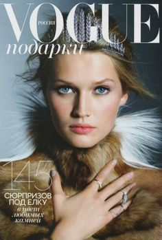 Beautiful shot of Toni Garrn for Vogue Russia, December 2012. Shot by Karl Lagerfeld.
