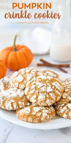 Pumpkin Crinkle Cookies are light, soft, and cake-like with warm, flavorful pumpkin spices. You'll love this easy fall cookie coated in powdered sugar that cracks as it bakes. #pumpkincookies #pumpkindesserts