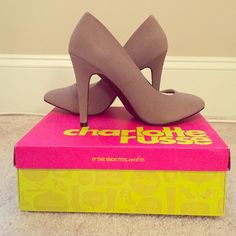 Brand new: never worn tan heels Suede material; a nice soft tan; still in box Charlotte Russe Shoes Heels