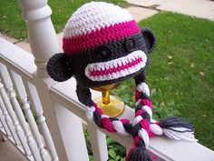 Stitch11 Sock Monkey Hat and other fun free sock monkey patterns! Roundup on mooglyblog.com!