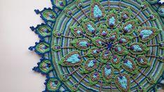 Overlay Crochet, Peacock Feather Mandala Pattern, Crocheted Home Decor, Fiber Art Wall Hanging, Crochet Pattern, Textile Art