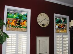 Two stained glass panel hung in front of the client's existing window in Kentucky  http://stainedglasswindows.com/  619 575-2904