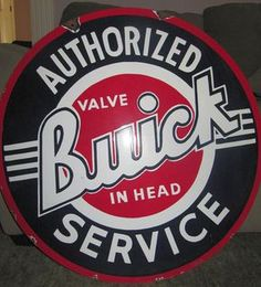 "Buick Vintage Porcelain Sign (Old Antique Car Dealership Advertising Double Sided Sign, ""Authorized Valve In Head Service"")"