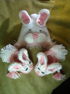 Crochet PATTERN  baby bunny slippersbunny hat by EasyPeasyGrandma, $5.95