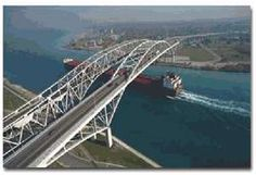The Blue Water Bridge, connecting Port Huron, Michigan with Sarnia, Ontario, Canada...*We've gone over this many times.