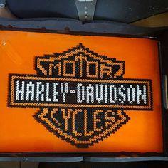 Harley Davidson logo perler beads by Melt Beads Patterns, Loom Patterns, Beading Patterns, Hama Beads, Fuse Beads, Perler Patterns, Quilt Patterns Free, Cross Stitch Pattern Maker, Cross Stitch Patterns