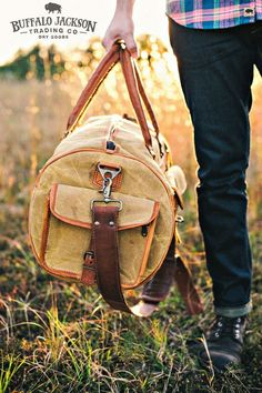 The Everett vintage duffle / duffel bag for men. Waxed canvas with leather trim. Great for sport, work, or travel.