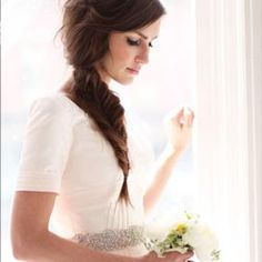 Is this the most stylish rock the dress shoot ever? The bride wears a unique dress with blush skirt, pockets & a gorgeous fishtail braid!