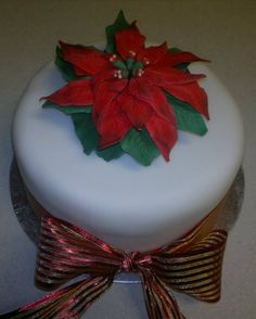 Red Poinsettia Cake by Too Nice To Slice -Wedding & Celebration Cakes-Lytham St.Annes, Lancashire