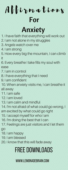 Anxiety affirmations! Lemonadebrain.com #anxiety #affirmations #affirmationsforanxiety #goodvibes #positivethinking