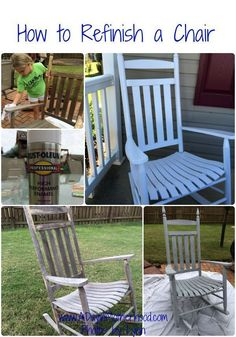 All things Crafty DIY How to Refinish a Wood Chair- Learn How to Refinish an Old Chair to Make it Lo Painted Rocking Chairs, Rocking Chair Makeover, Rocking Chair Front Porch, Wooden Rocking Chairs, Outdoor Rocking Chairs, Wooden Chairs, Metal Chairs, Adirondack Chairs, Do It Yourself Furniture
