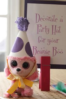 Beanie Boo birthday party - Have party guests brings their own beanie boo and then decorate party hats as an activity.