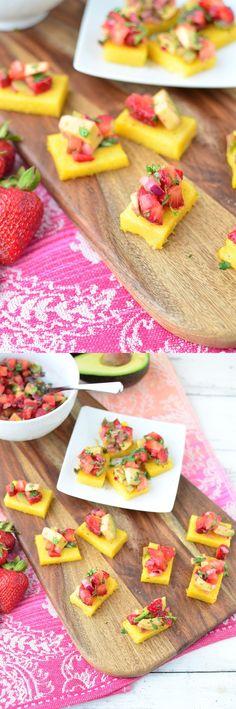 The best summer appetizer! Strawberry Avocado Polenta Bites! Gluten Free and Vegetarian! So, so good! | www.delishknowledge.com