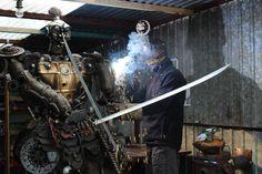 Welding.made of car scrap. Samurai made in Kristof Shakti. Katsuie Shibata from Fukui. Japanese Warrior. Game warrior  Kristof Shakti Fabric of Sculptures.