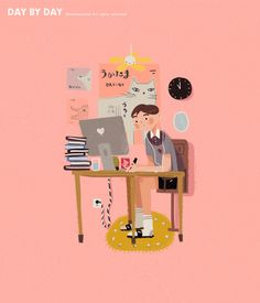 Yan Chien on Behance Drawing Cartoon Faces, Cartoon Art, Cute Drawings, Type Illustration, Character Illustration, Gifs, Animated Icons, Fanarts Anime, Cute Gif