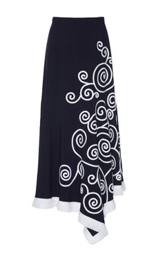Embroidered asymmetrical midi skirt by Andrew Gn