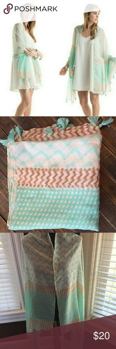 "NWT MINT TASSEL SHAWL Tassel trimmed chevron print shawls are beautiful! Listing is for the MINT/CREAM color only. Sheer, lightweight style for spring. 100% polyester. 35"" x 71"".? Accessories Scarves & Wraps"