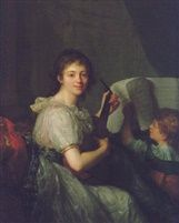 Antoine Vestier, An Allegory of music: portrait of a young girl playing guitar [probably around 1788, contemp with Allegorie of painting] Phillips London