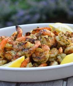 Grilled Pesto Shrimp. It can also be made with bought pesto. I prefer Buitoni fresh pesto.