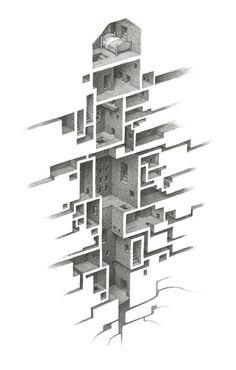 Room Series - Drawing by Mathew Borrett