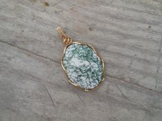 Tree Agate/Green and White/Handmade and Wrapped in 14k Gold Wire by WrappedStoneWonders on Etsy