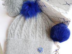 Beanie, Cashmere Wool Knit Blend Beanie Hat with Detachable Genuine Raccoon Fur Pom-Pom Gray Beanie and Blue Fur Pom, NEW!