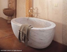 "Carrara marble ""Oval Bathtub"" from Stone Forest; available in 7 materials"