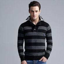 Casual Business Mens Sweaters Brand Cheap Clothing Pullover Men Striped Turn-down Collar Christmas Sweater Autumn High Quality(China (Mainland))
