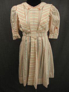 Child's 1900s dress, ivory coral stripe seersucker