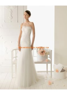 Sexy Brautkleider mit Spitze modern aus Tüll Kolumne Herzausschnitt