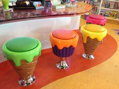 "The ""candy bar"" has stools shaped like ice cream cones and cupcakes. The ""candy bar"" has stools shaped like ice cream cones and cupcakes."