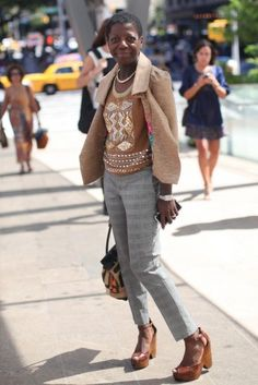 Thelma Golden, Director/Curator of The Studio Museum (Harlem) | Tracy Reese top and jacket, vintage pants | Essence Magazine Street Style (NYFW SS13)