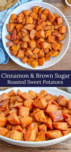 Cinnamon and Brown Sugar Sweet Potatoeswith butter, cinnamon and brown sugar then roasted in the oven They come out crisp on the outside and tender inside. This is an easy delicious side dish that can be put together in just minutes.