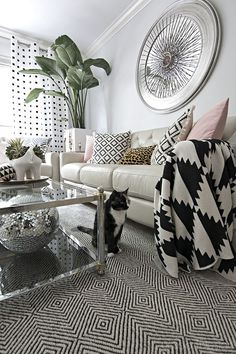 black and white neutral living room with pink and tropical accents