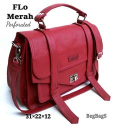 Leather red perforated