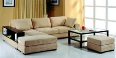Beige Microfiber Sectional Sofa w/2 Ottomans & Bookcase