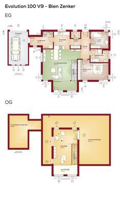 Flachdachbungalow Modern grundriss bungalow haus mit garage und pultdach 3 zimmer 90 qm
