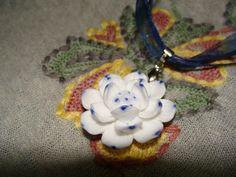 China Underglaze Blue Flower Necklace by YYworkshop on Etsy