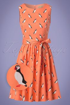Lindy Bop Audrina Orange Puffing Swing Dress 24558 20180102 0002wv