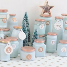 Upcycling advent calendar from empty glasses. Your individual advent calendar in your favorite color Advent Calenders, Diy Advent Calendar, Creative Crafts, Diy And Crafts, Creative Ideas, Calendrier Diy, Christmas Time, Christmas Crafts, Xmas