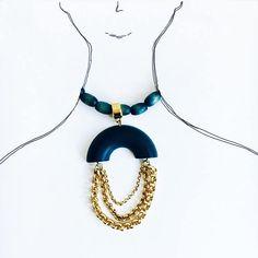 A big vintage Aarikka wood & golden metal necklace-Kaija