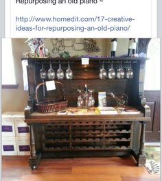 Recycled piano wine cabinet