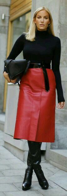 Long red leather skirt boots outfit
