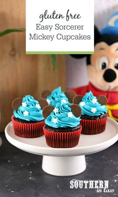 The Best Gluten Free Chocolate Cupcakes Recipe becomes Sorcerer Mickey with this super easy birthday cake idea! Boiling water is the secret to making soft, moist and fluffy gluten free cupcakes. Super simple these cupcakes use ingredients you already have in your pantry (and no butter or almond flour!) so you can whip them up in minutes. Inspired by Disneyland, every Disney fan or Mickey Mouse lover will adore these cute cupcakes!