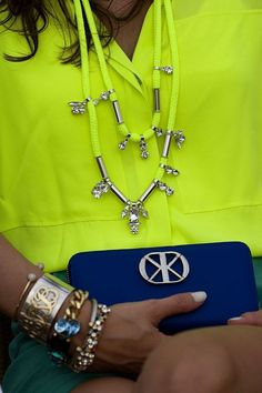 Love the two bold colors mixed together. Royal blue and neon yellow.