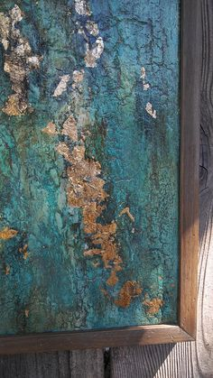 Framed Abstract Texture Painting Gold Leaf Turquoise Boho
