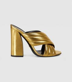 fb7a91d6c Gucci Metallic Crossover Sandal Gold Mules, Metallic Gold Shoes, Heeled  Mules, Mule Sandals