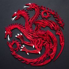A quilled Targaryen Sigil from the Game of Thrones created by artist Stacy Bettencourt, owner of Mainely Quilling in Jefferson, Maine.