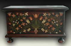 Reproduction German Folk Art Saybrook, CT  Miniature Blanket Chest 5.5H 9.25 W x 5D on Etsy, $169.00